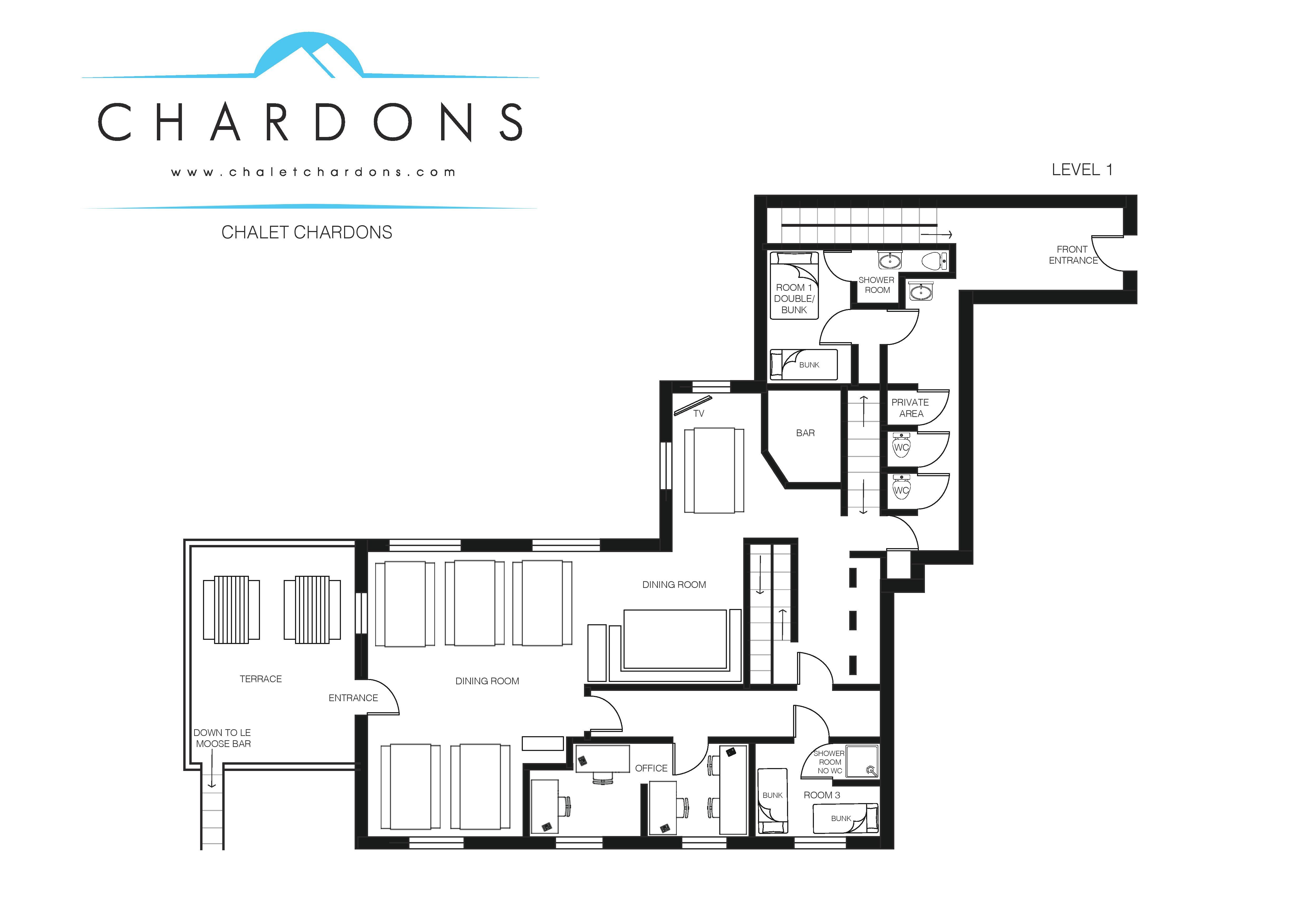Chalet Chardons Floor Plan Level 1