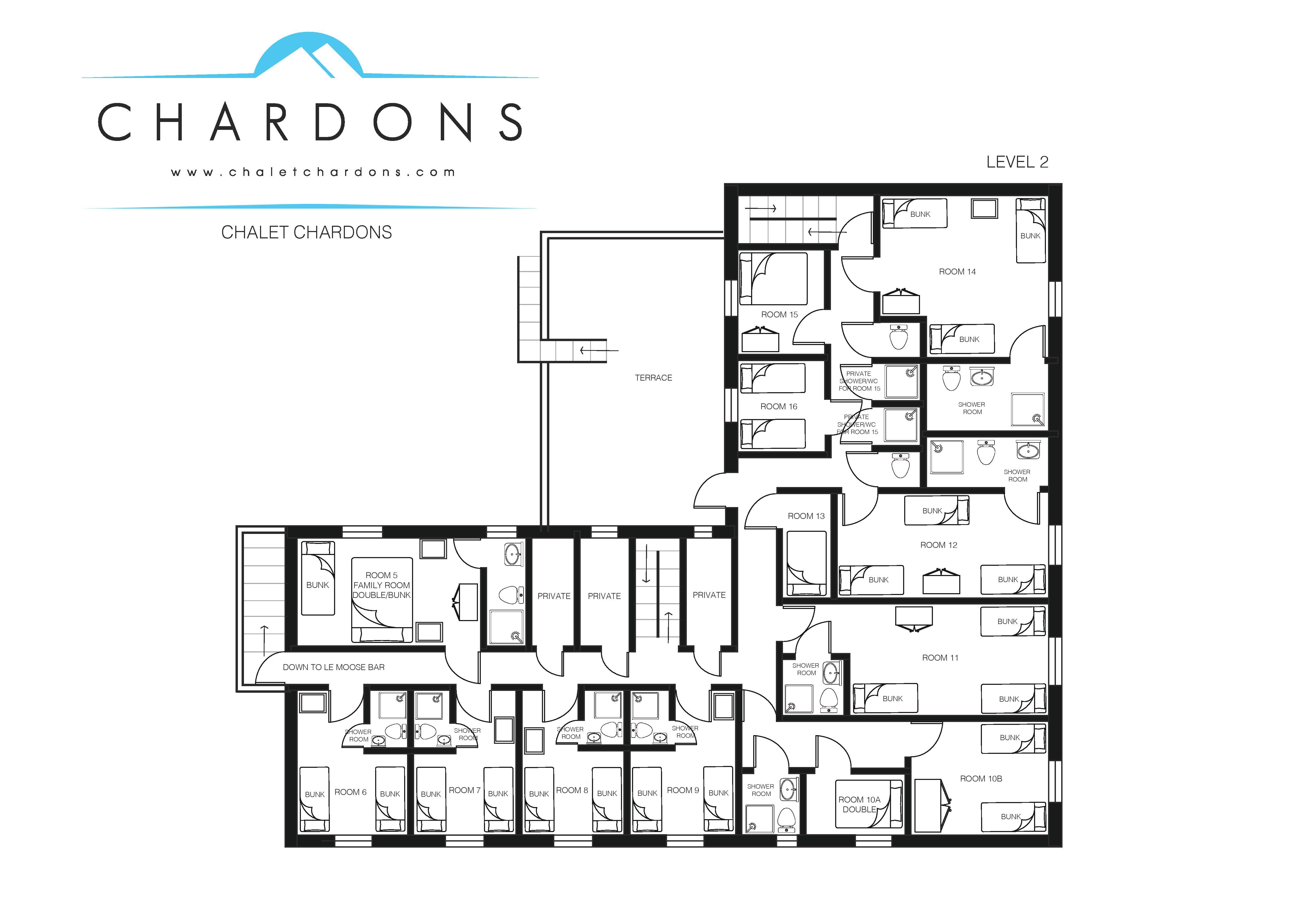 Chalet Chardons Floor Plan Level 2