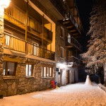 snowboard lodge night