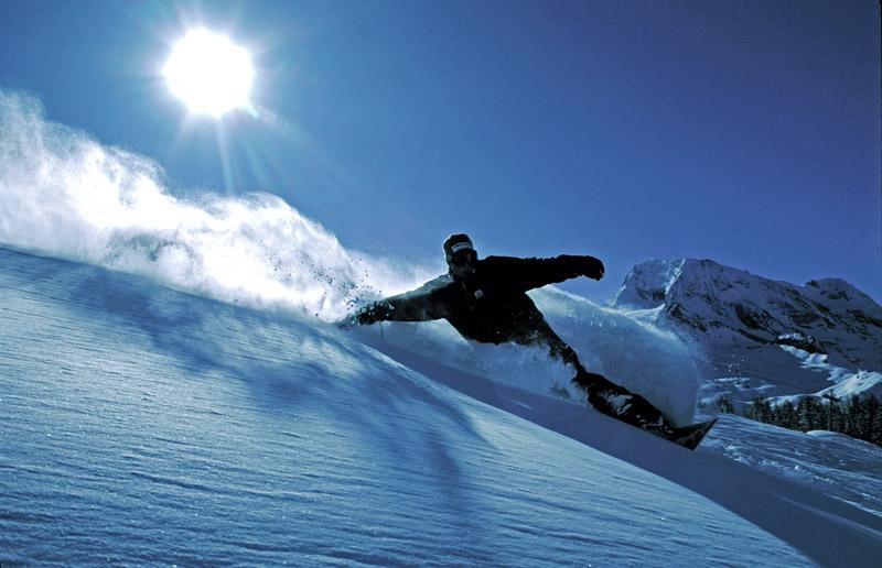 Mark Hayman riding the fresh powder.