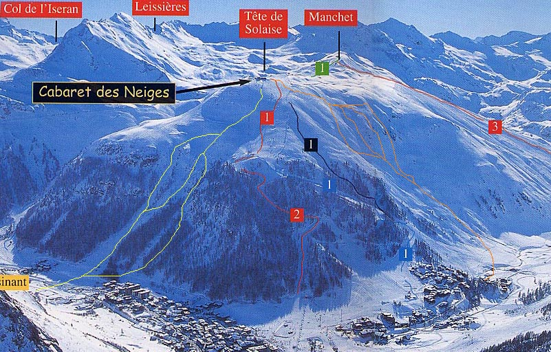 Offpiste skiing and snowboarding routes Tignes Alps